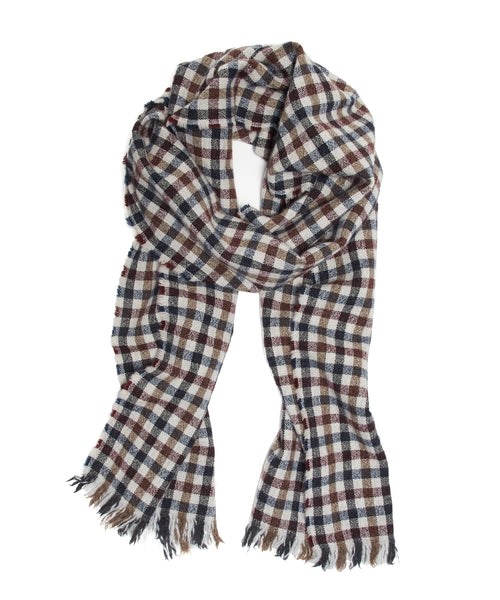 Drake's Small Check Lightweight Scarf