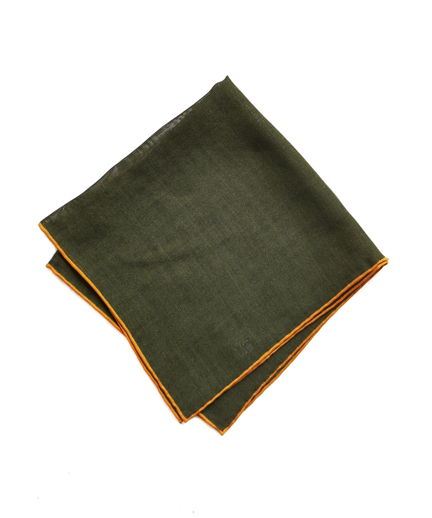 Drake's Green Solid Wool and Silk Pocket Square with Shoestring Border