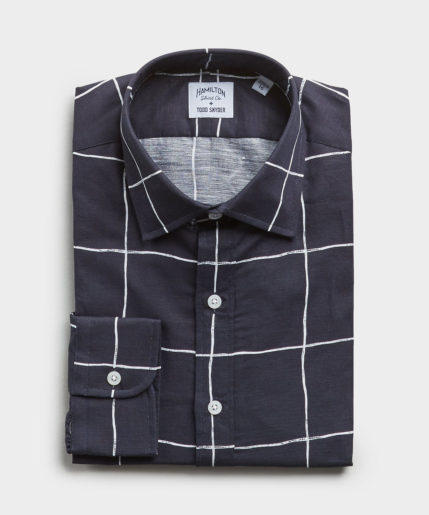 Made in the USA Hamilton + Todd Snyder Windowpane Shirt in Navy