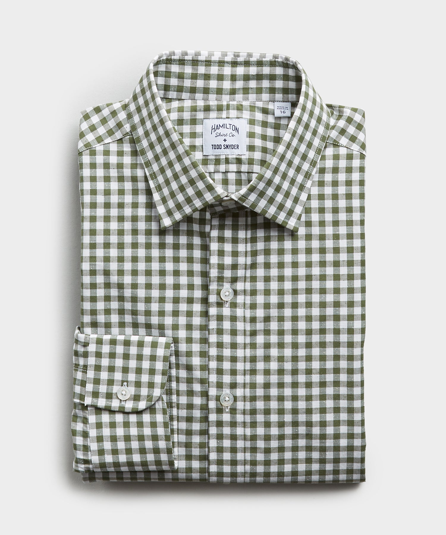Made in the USA Hamilton + Todd Snyder Gingham Plaid Shirt Green