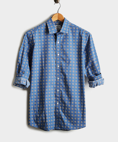 Made in the USA Hamilton + Todd Snyder Modified Paisley Shirt in Blue