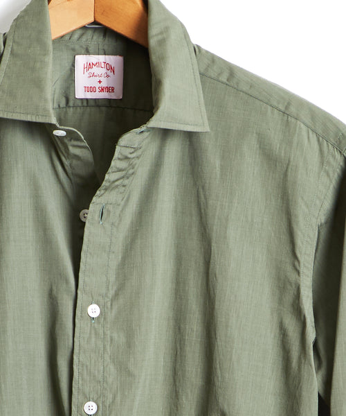 Made in the USA Hamilton + Todd Snyder End on End Dress Shirt in Olive