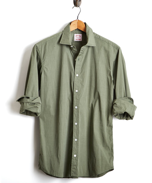 HAMILTON END ON END DRESS SHIRT in OLIVE