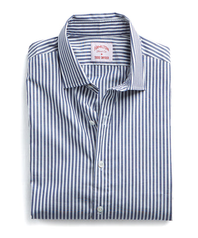 Made in the USA Hamilton + Todd Snyder Dress Shirt in Navy Bengal Stripe