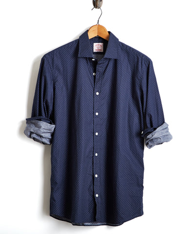 Made in the USA Hamilton + Todd Snyder Deco Dot Dress Shirt in Navy