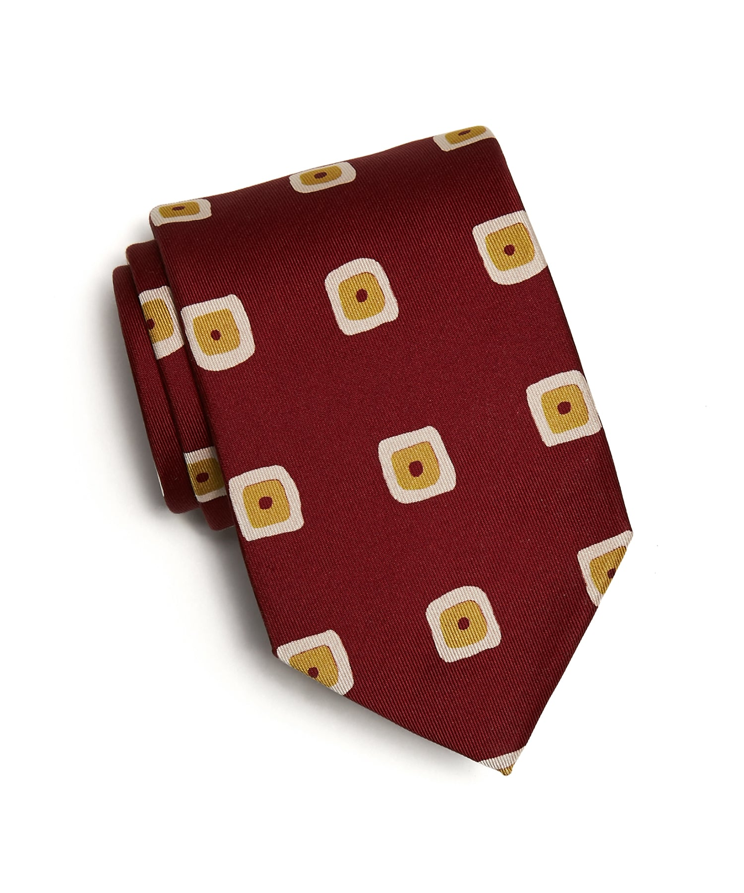 Drakes Painted Square Print 36oz Madder Silk Tie in Red