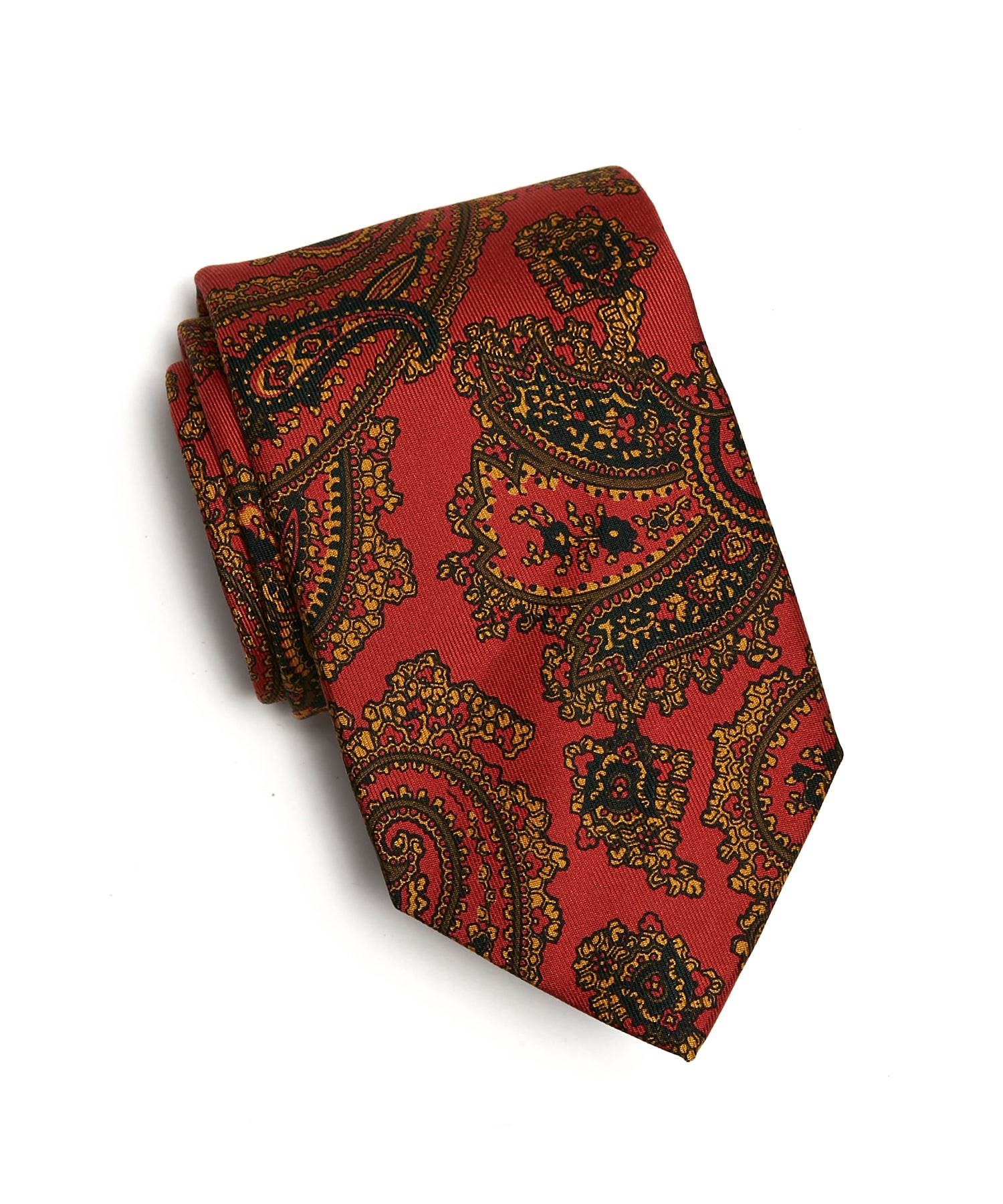 Drakes Large Paisley Print 36oz Madder Silk Tie in Red
