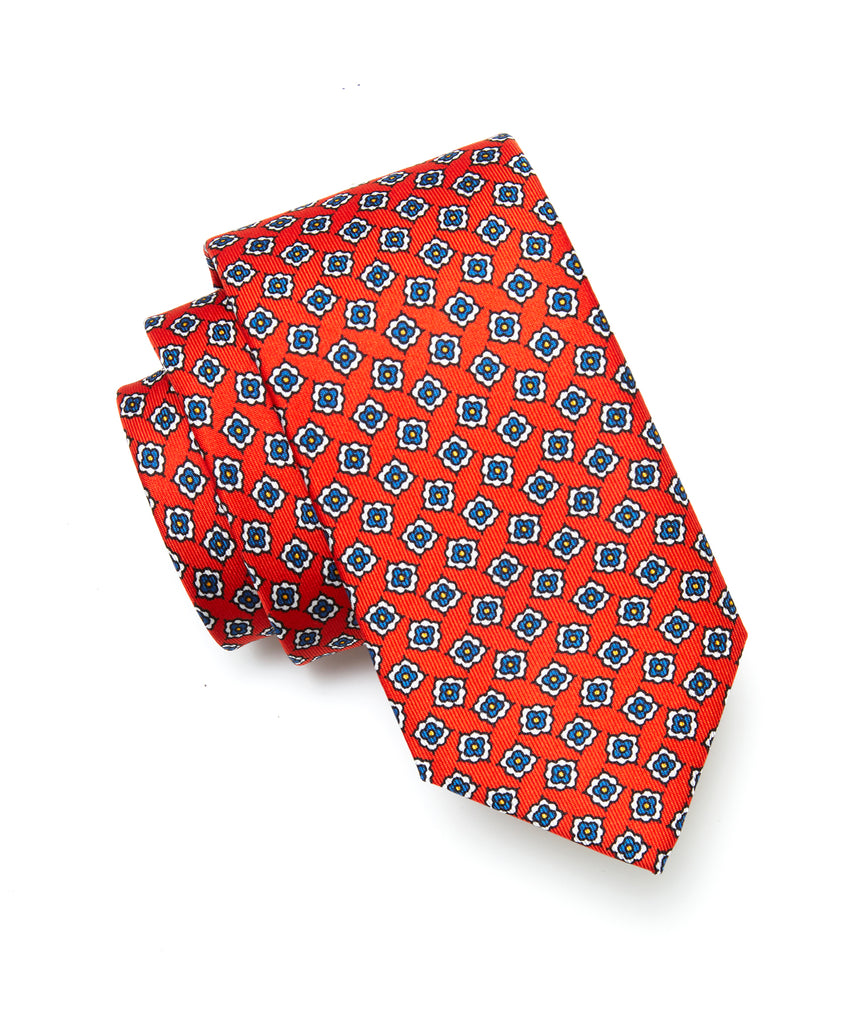 Drake's Floral Foulard Silk Tie in Red