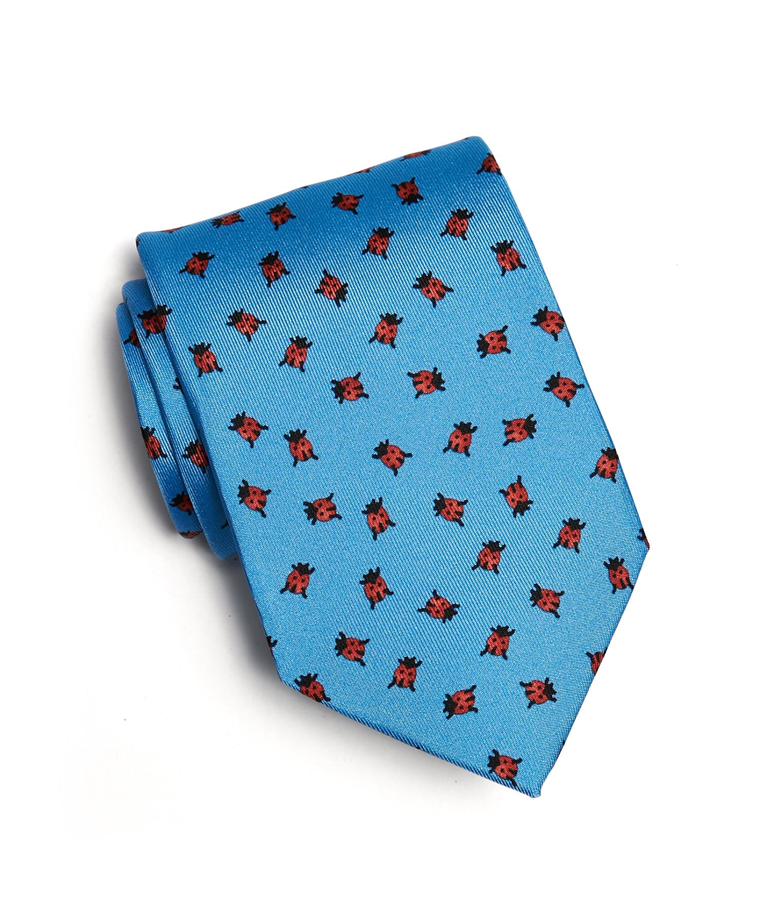 Drakes Ladybug Print Silk Tie in Light Blue