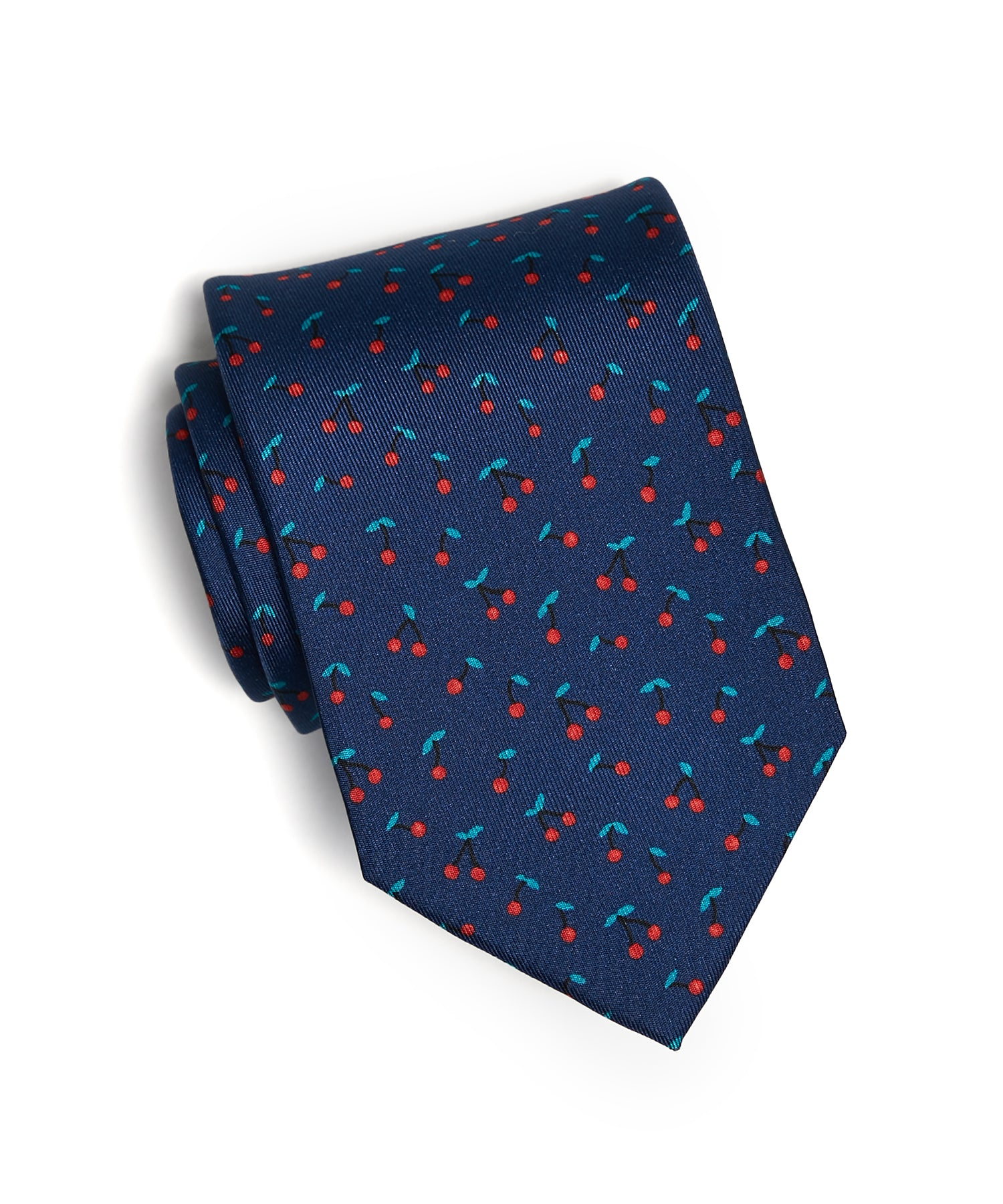 Drake's Cherry Print Silk Tie in Navy