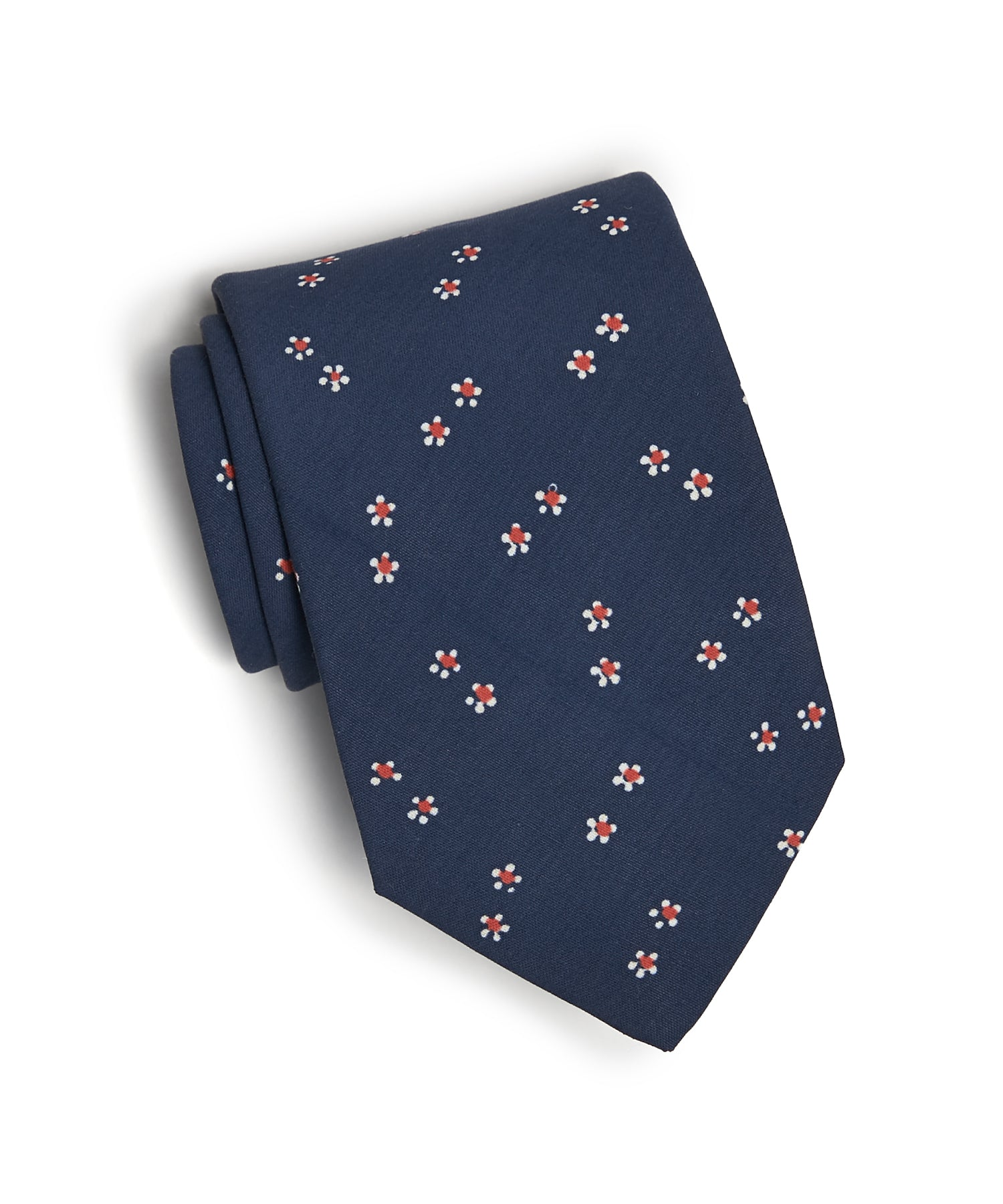 Drake's Navy/Red Ditsy Floral Silk Tie