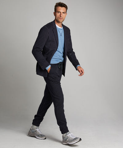 Knit Traveler Suit Jacket in Navy Pinstripe