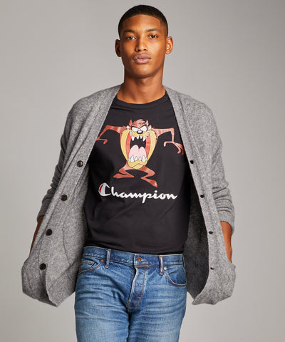 Champion + Looney Tunes Tasmanian Devil Tee in Blacktop