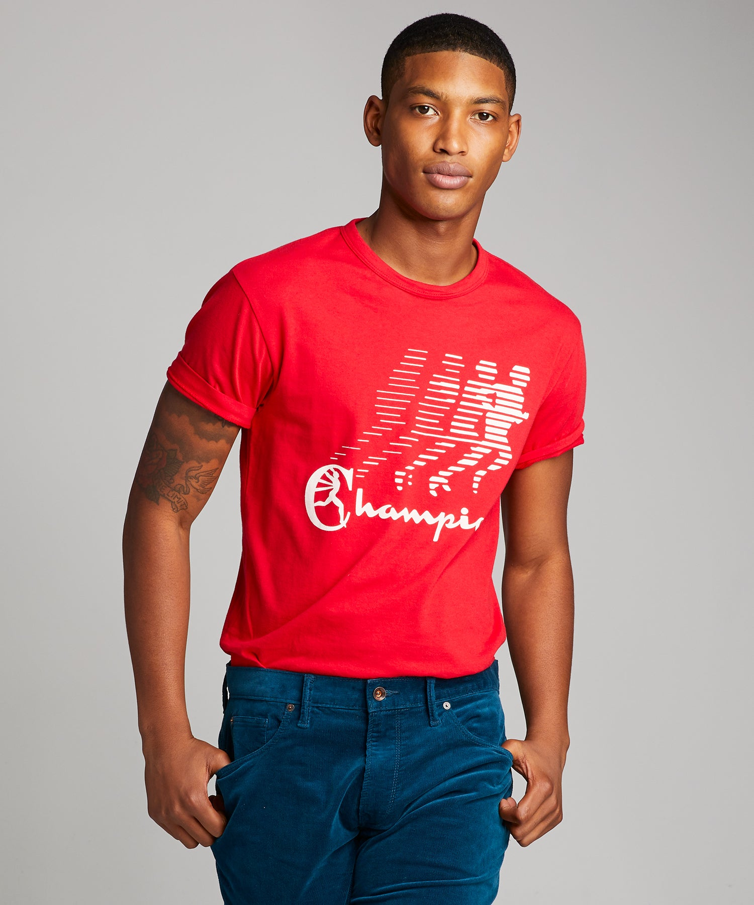Running Man Champion Graphic Tee in Red