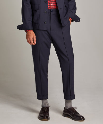 Navy Pintuck Trouser with White Pinstripe