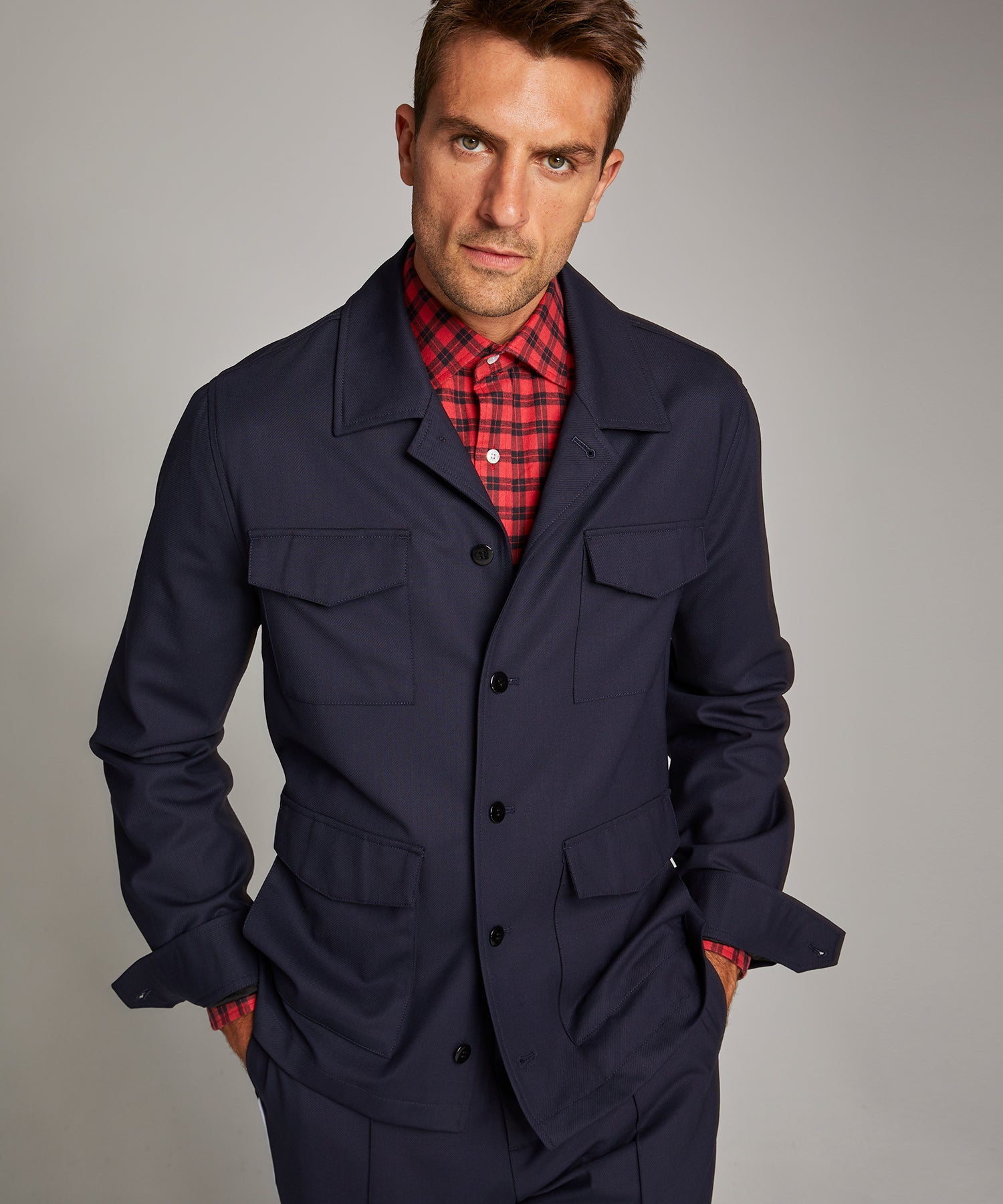 Military Shirt Jacket in Navy
