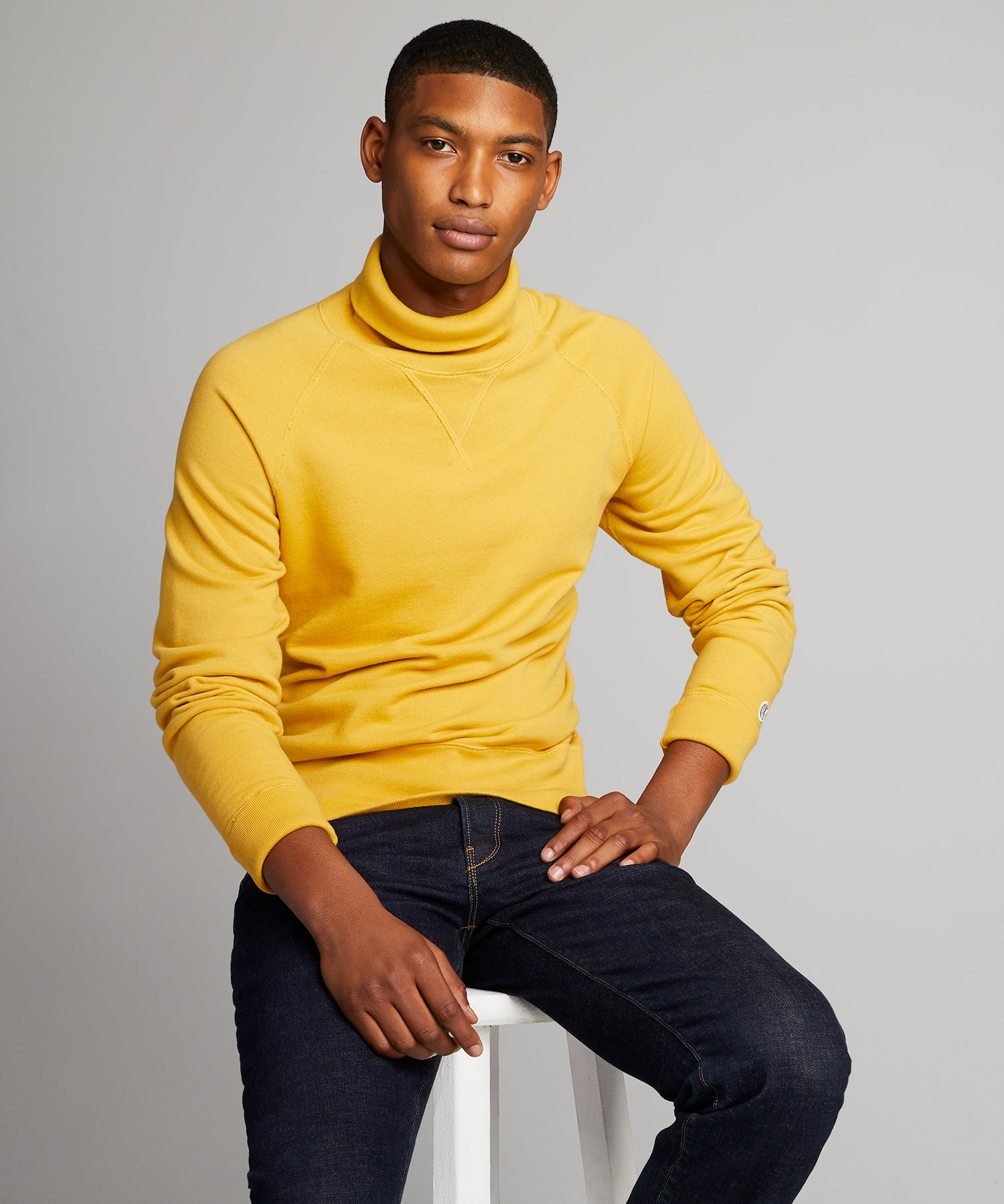 Lightweight Turtleneck Sweatshirt in Goldenrod