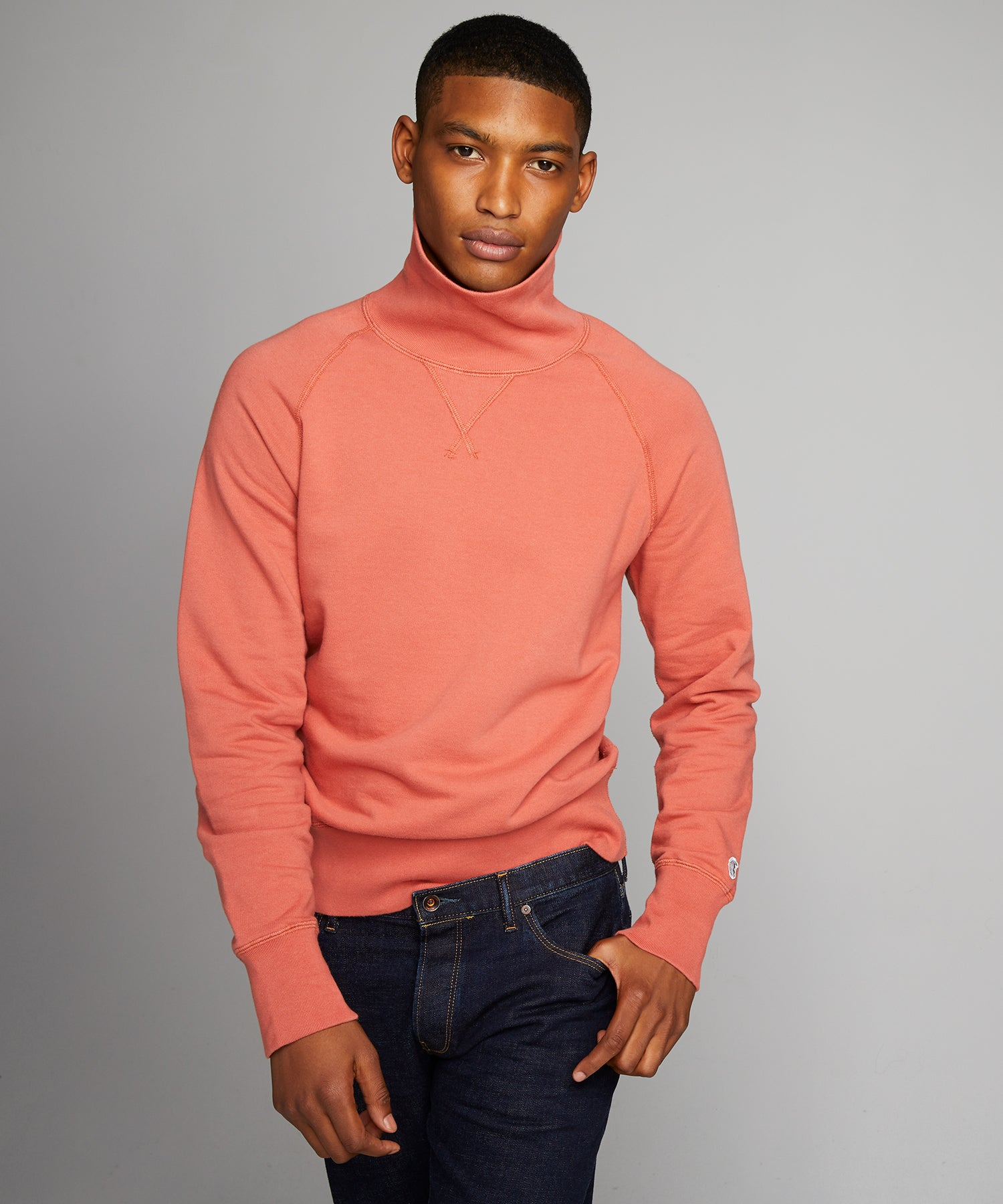 Terry Turtleneck Sweatshirt in Orange Russet