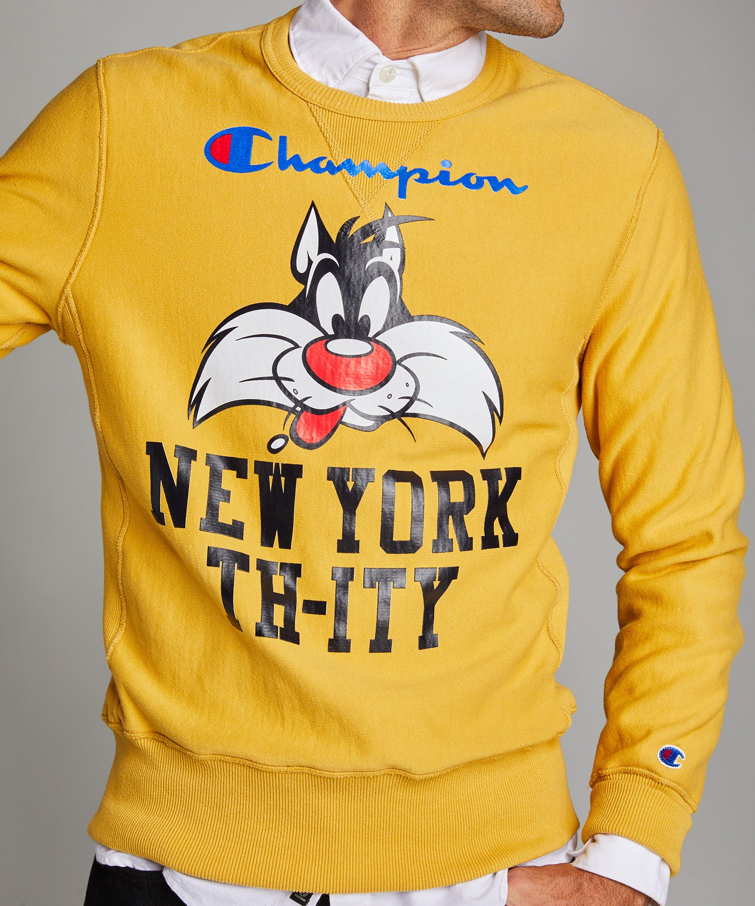 Champion + Looney Tunes New York Th-ity Reverse Weave Crew in Warm Gold