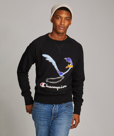 Champion + Looney Tunes Roadrunner Beep Beep Reverse Weave Crew in Blacktop