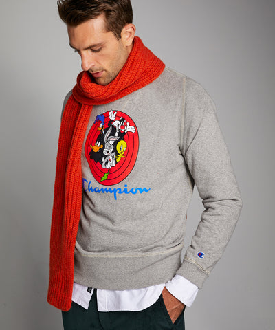 Champion + Looney Tunes Gang Reverse Weave Crew in Light Grey Mix