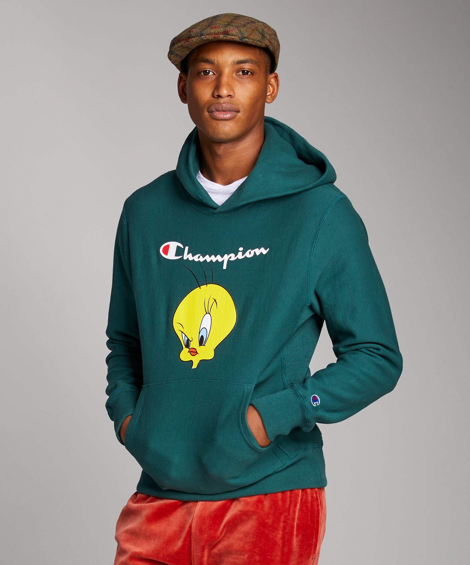 Champion + Looney Tunes Tweety Bird Hoodie in Storm Green