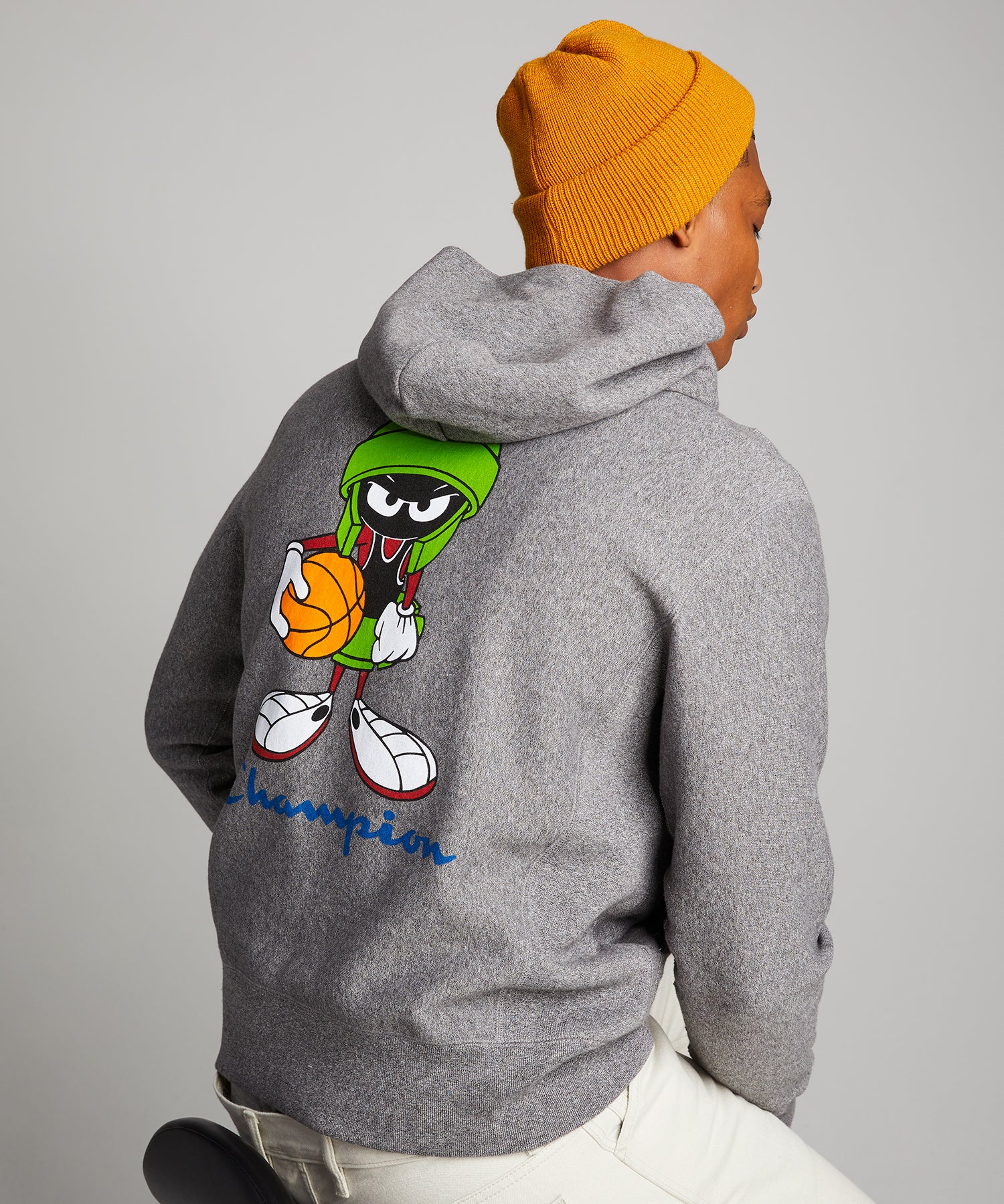Champion + Looney Tunes Marvin the Martian Hoodie in Salt and Pepper
