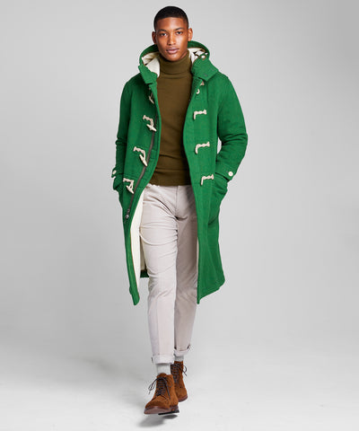 Made in New York Italian Wool Toggle Duffle Coat in Green