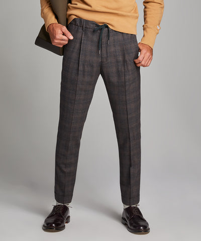 Italian Stretch Wool Glen Plaid Pleated Elastic Pant