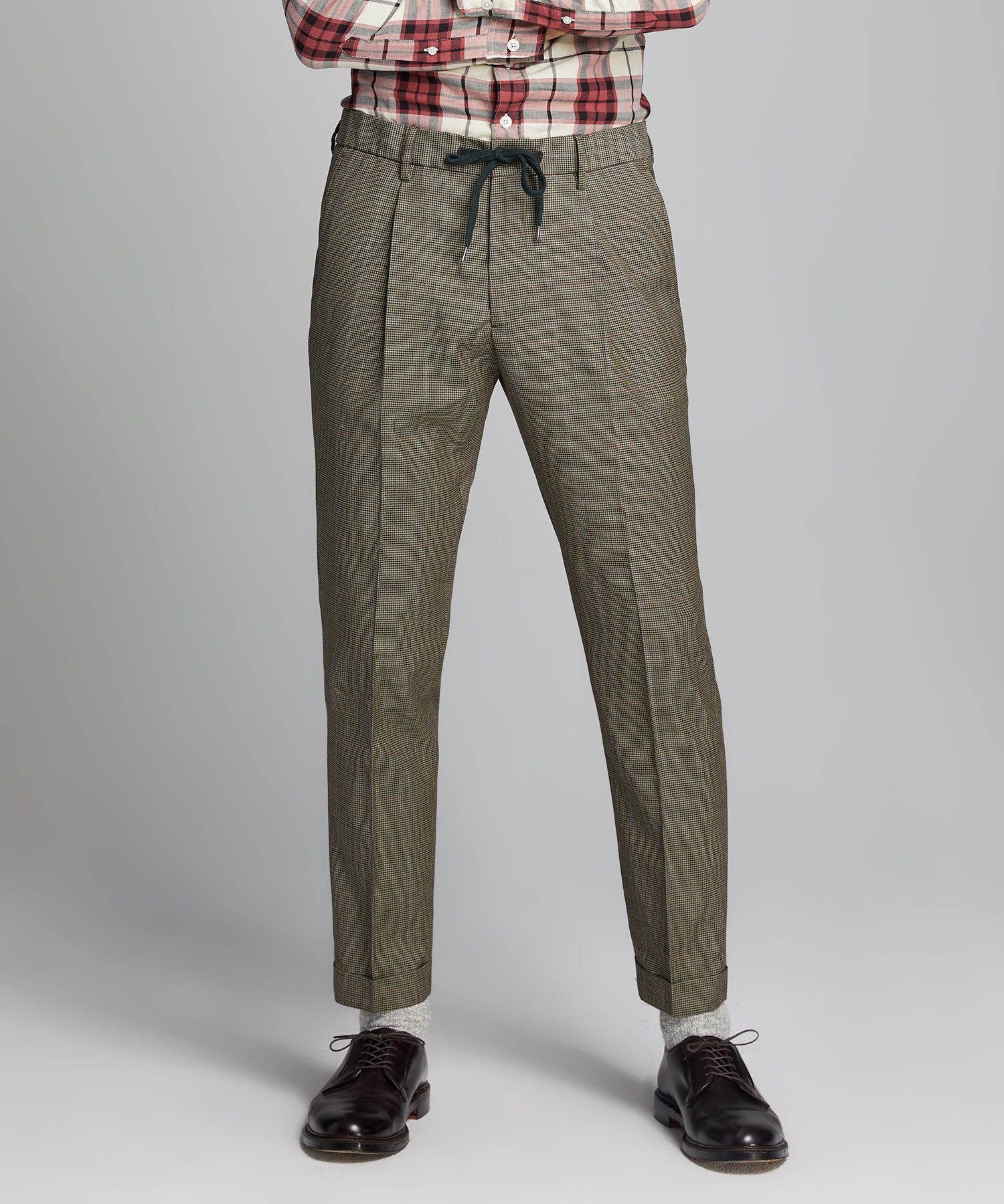 Italian Stretch Wool Drawstring Trouser in Brown Plaid