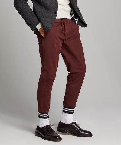 Cotton Chino Jogger in Deep Burgundy