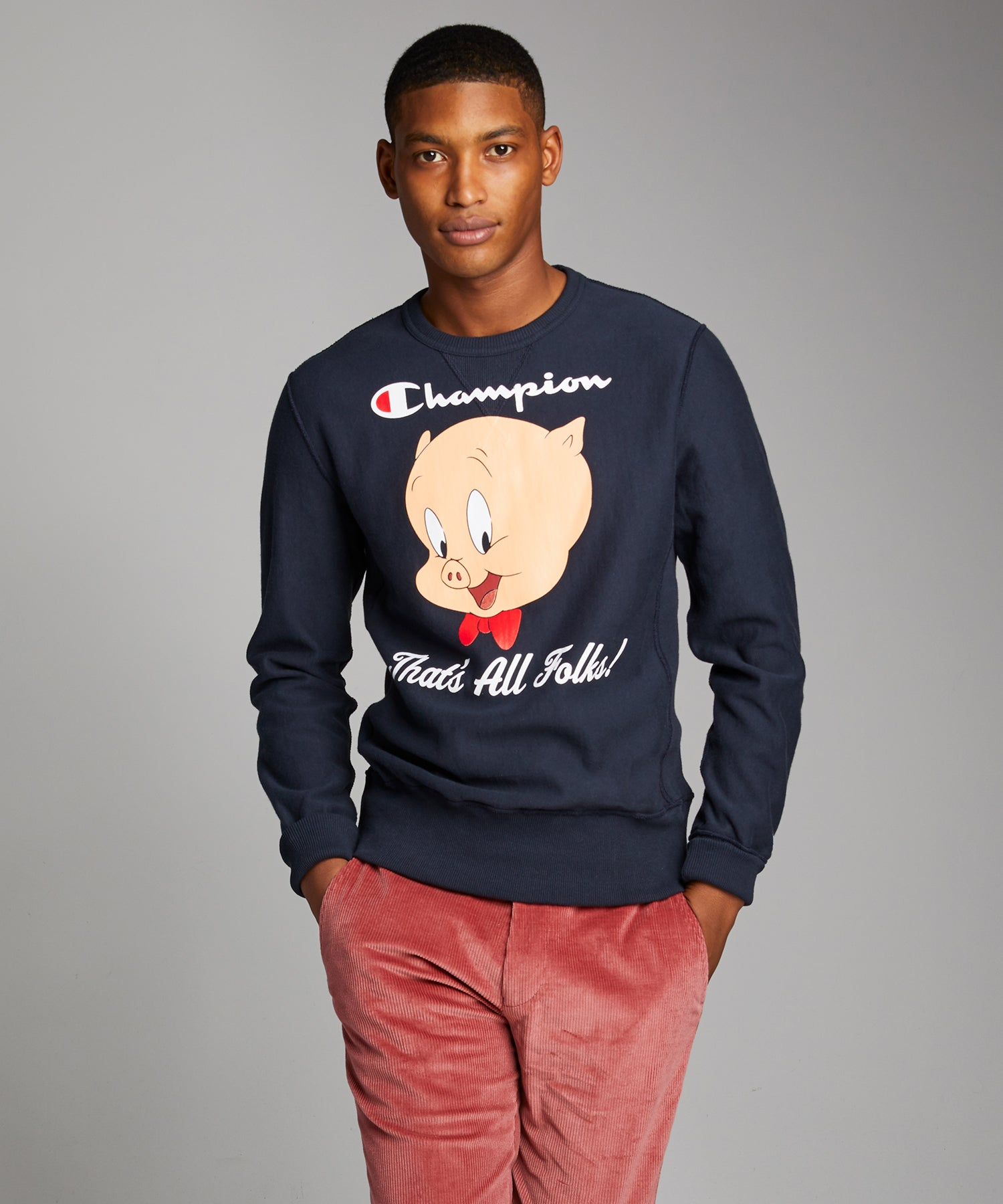 Champion + Looney Tunes That's All Folks Reverse Weave Crew  in Navy