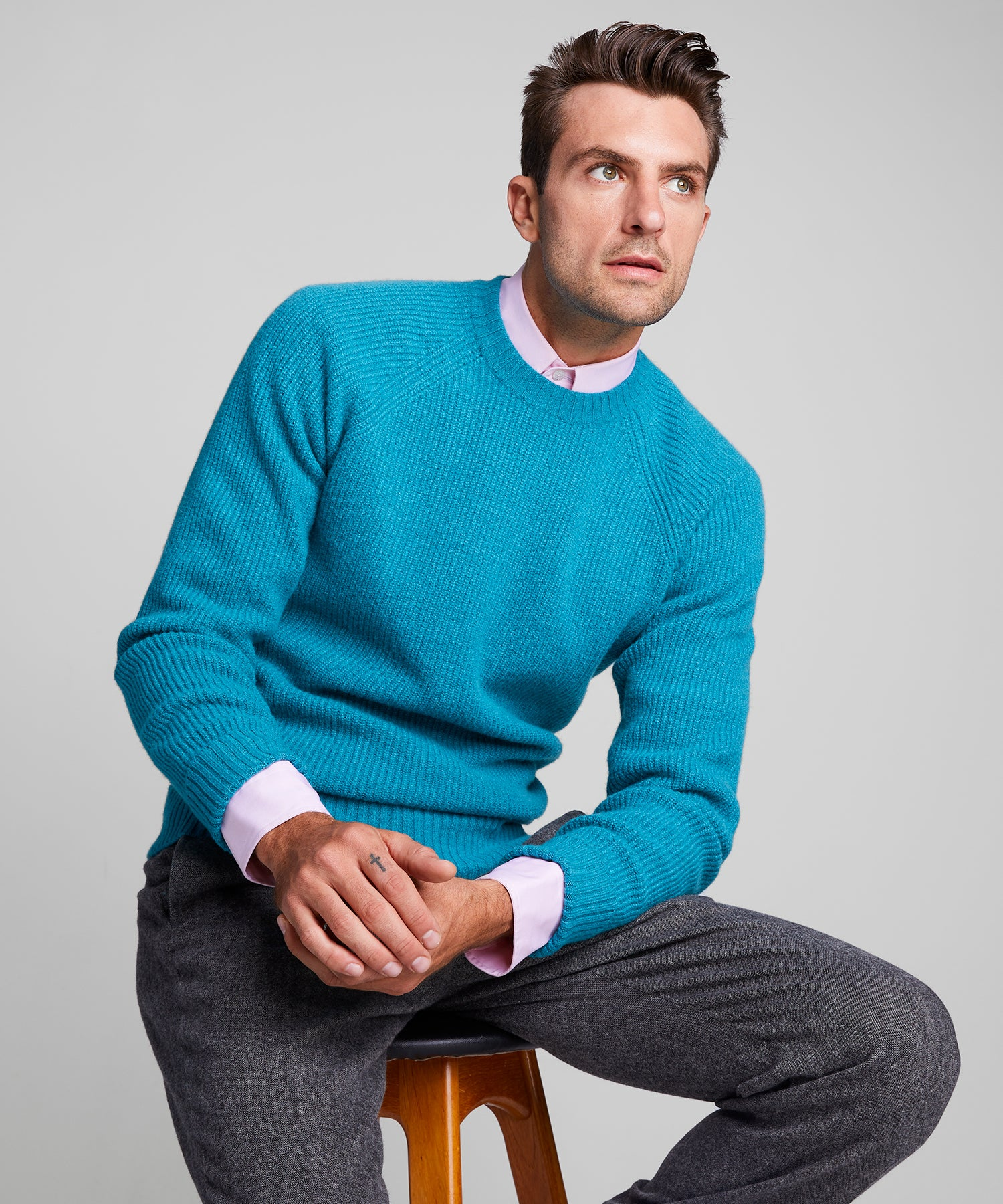 Italian Ribbed Raglan Crew in Teal