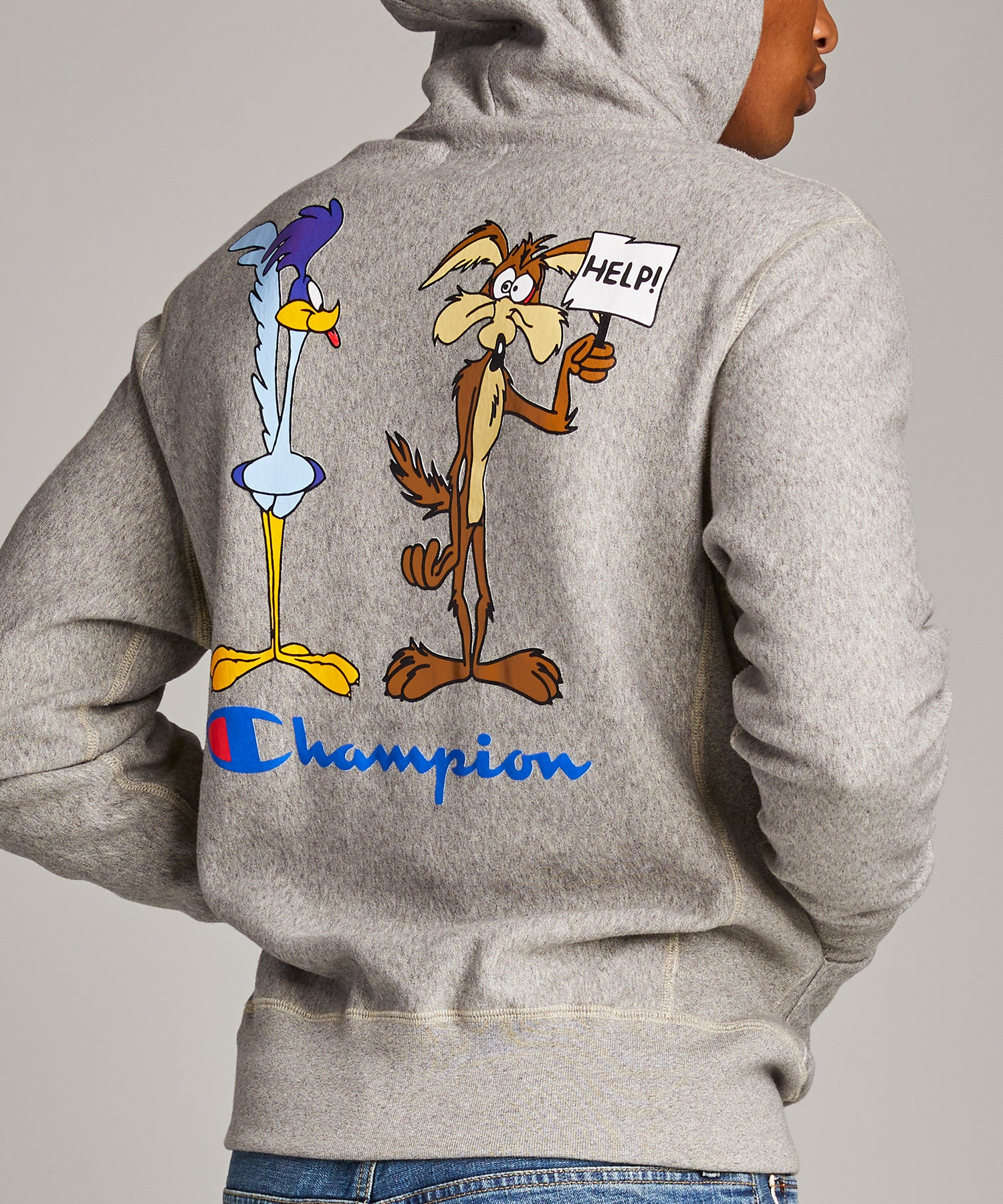 Champion + Looney Tunes Roadrunner and Wile E Coyote Hoodie in Light Grey Mix