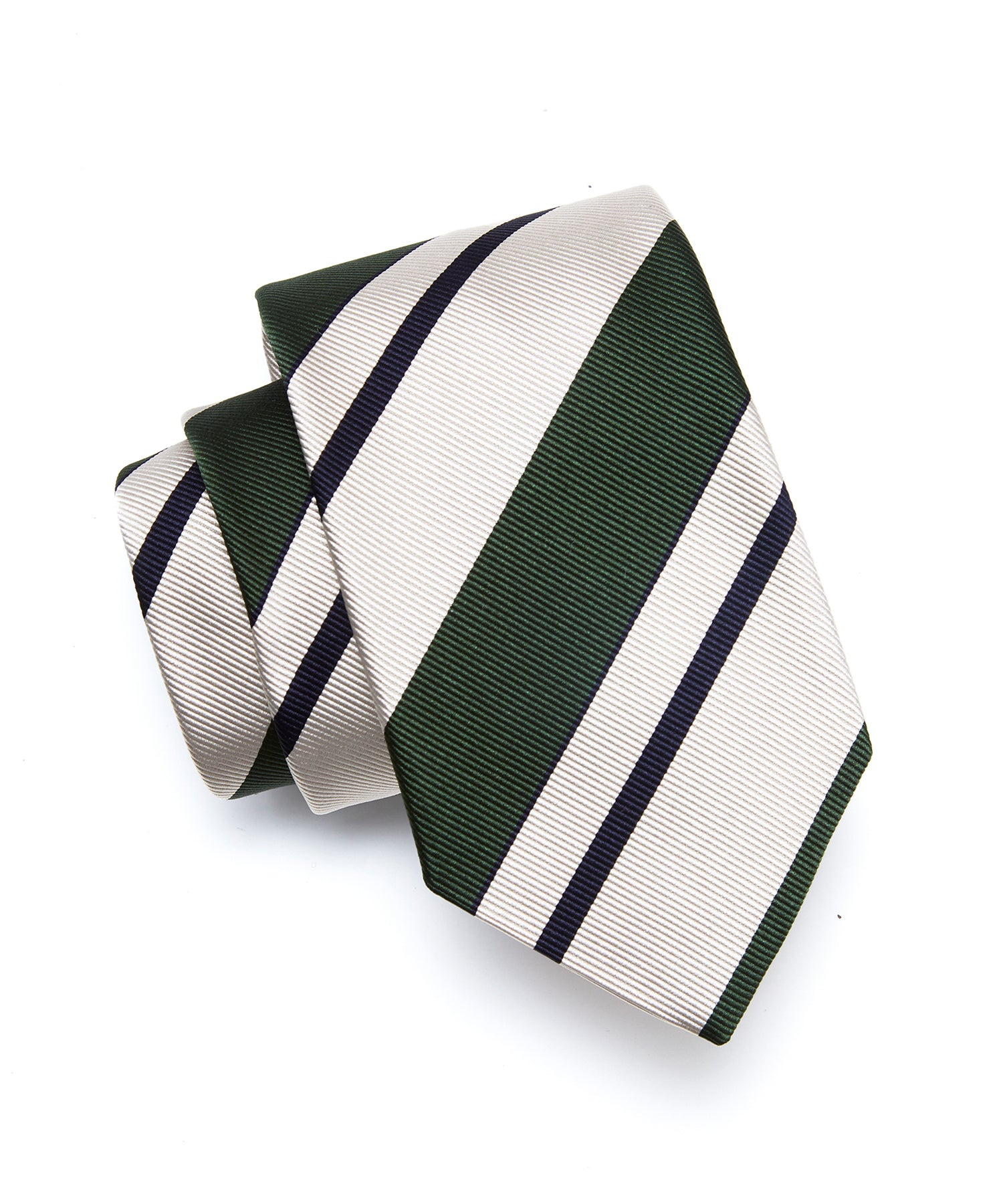 Drake's Green Silk Awning Stripe Tie