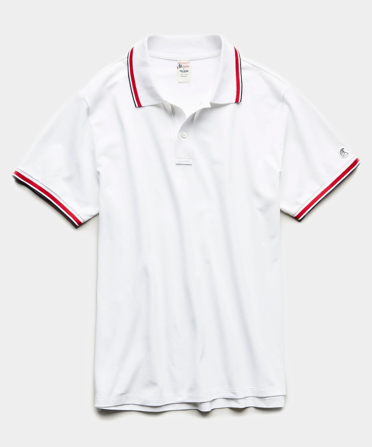 Tipped Pique Polo in White