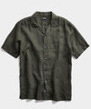 Short Sleeve Linen Camp Collar Shirt in Olive