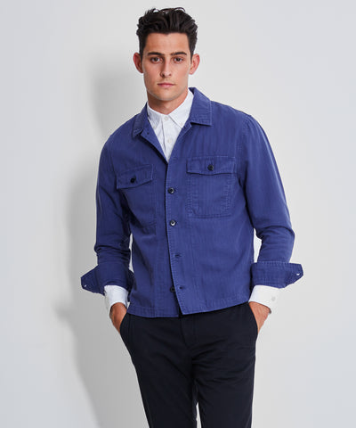 Italian Herringbone CPO Jacket in French Blue