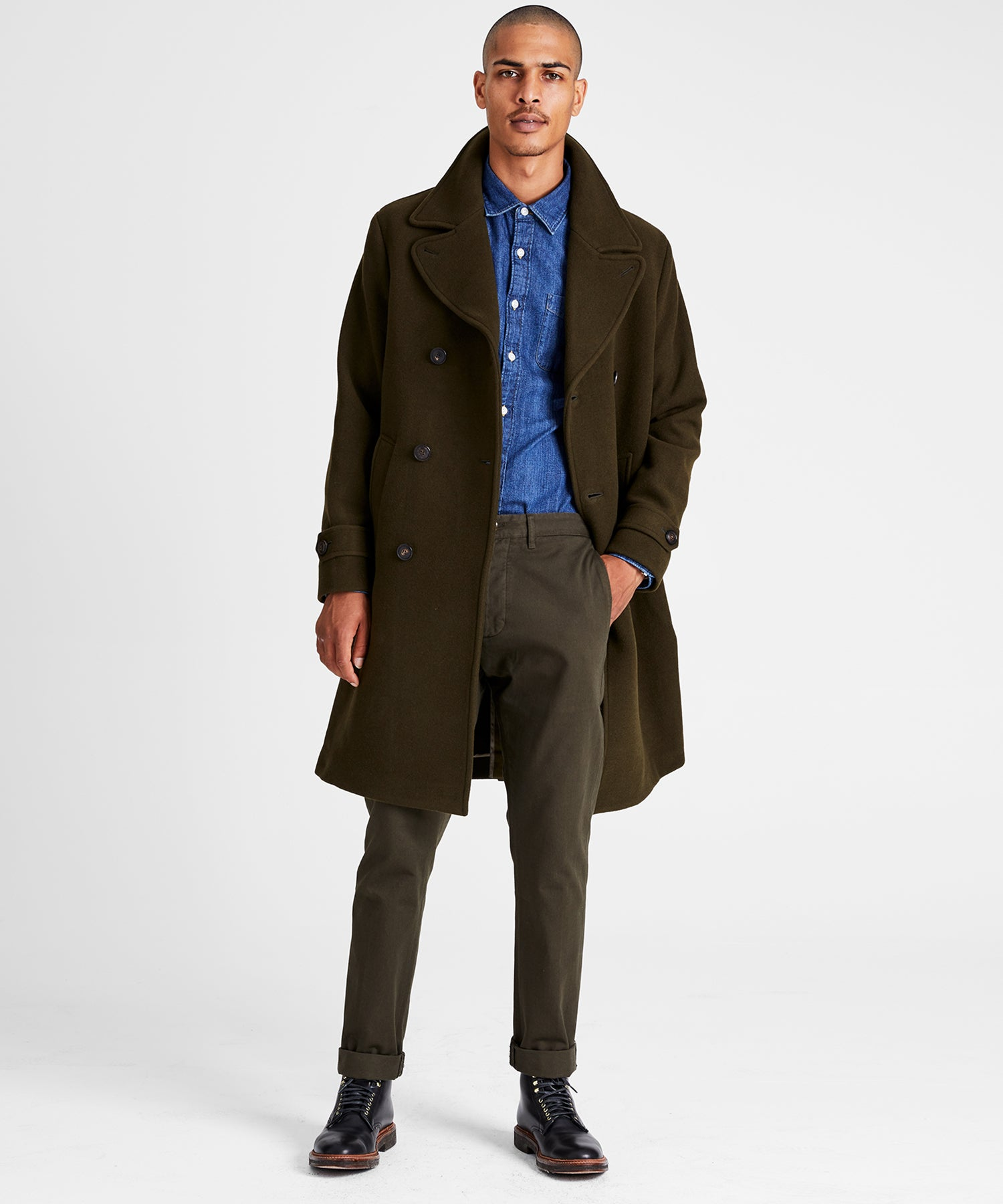 Italian Wool Double Breasted Officer Topcoat in Olive