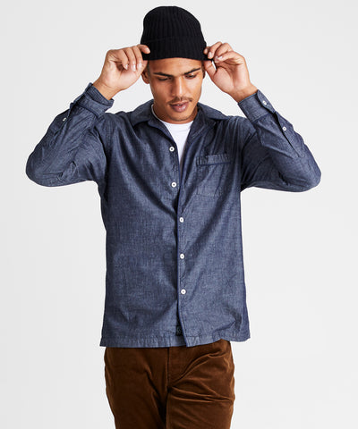 Japanese Tipped Chambray Camp Collar Shirt in Indigo