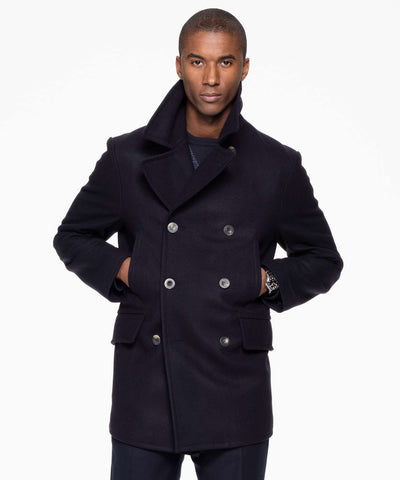 Todd Snyder + Private White Manchester Wool Peacoat in Navy