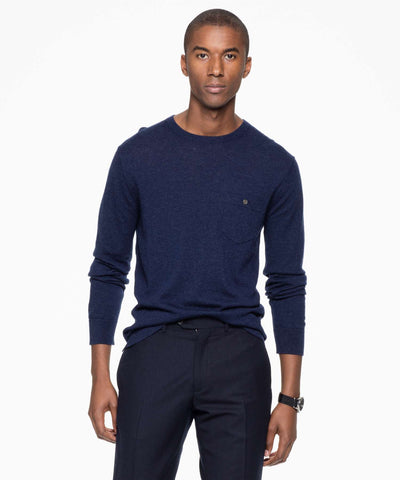 Italian Cashmere T-Shirt Sweater in Navy Heather
