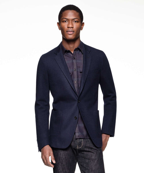 Sutton Unconstructed Sport Coat in Italian Navy Heather Wool