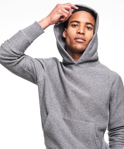 Fleece Popover Hoodie Sweatshirt in Salt and Pepper