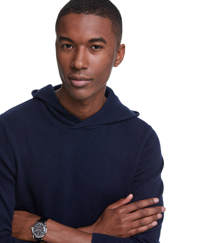 Cashmere Popover Hoodie in Navy