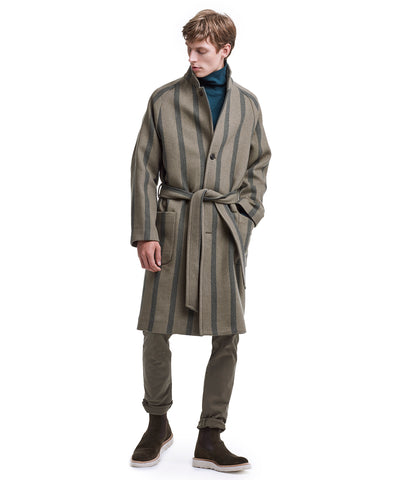 Exclusive Todd Snyder + Private White Wrap Topcoat in Olive Stripe