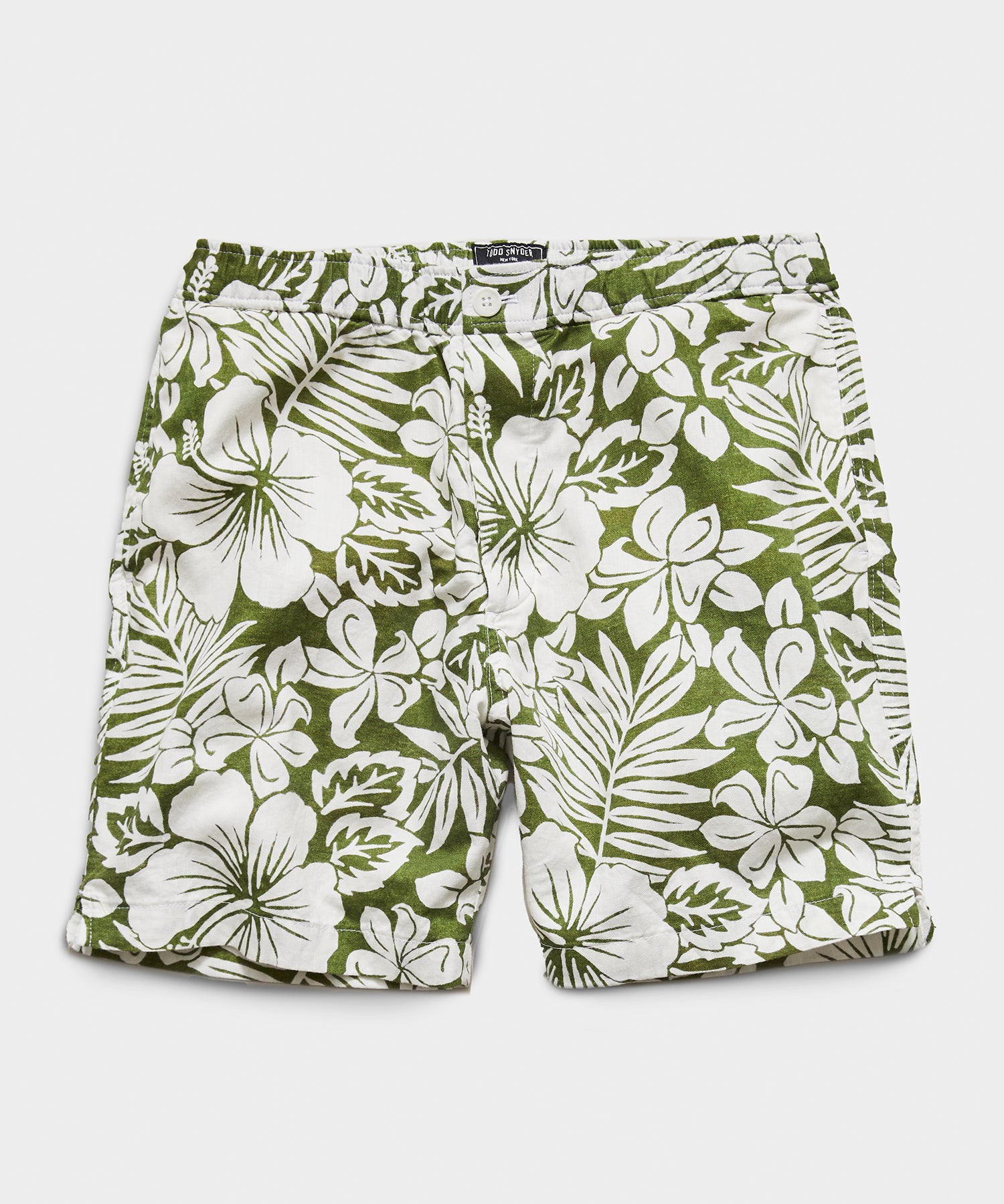 "7"" Pool Short in Green Floral"