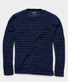 Long Sleeve Terry Stripe Crew in Navy