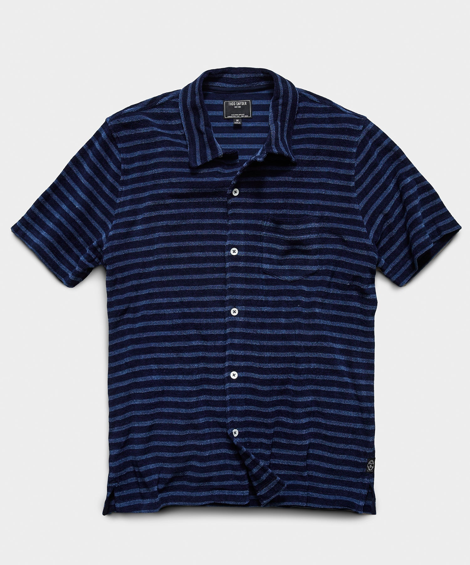 Stripe Terry Button Down Polo in Navy
