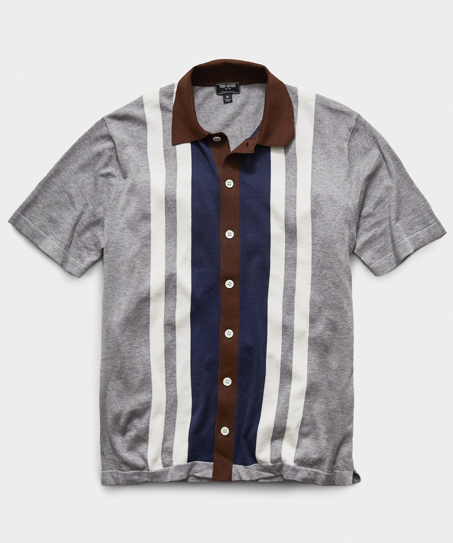 Italian Cotton Silk Striped Button Through Sweater Polo in Grey